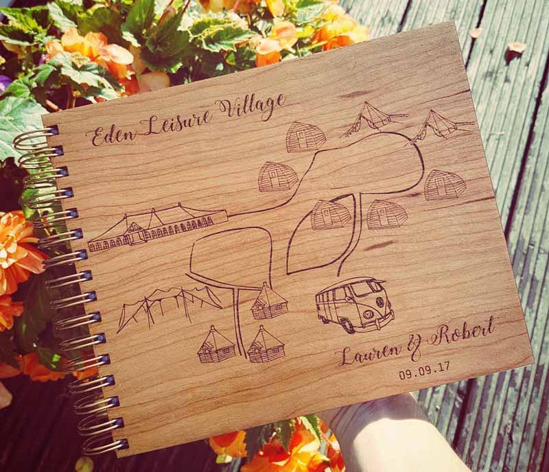 Eden Leisure Village Custom Wooden Guest Book Odd Box Glasgow Wedding