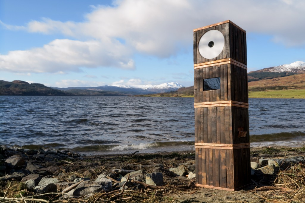Whisky Barrel photo booth copper banding at beach Scotland