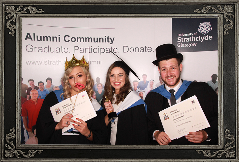 photo booth review of corporate event university graduations Glasgow Scotland Odd Box