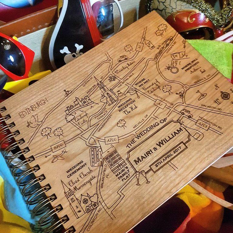 Cute Maps Custom Wooden Guest Book Wedding Edinburgh Scotland Alfalfa Designs