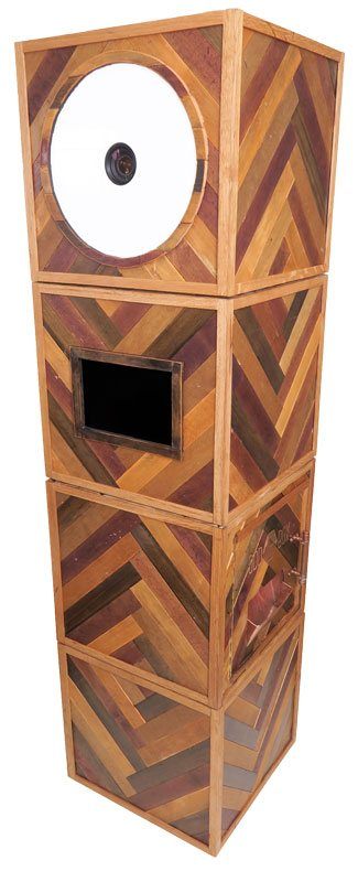 chevron photo booth, odd box photo booth, wooden, stylish, wedding, rustic, vintage wedding, open air booth, small photo booth, made from timber