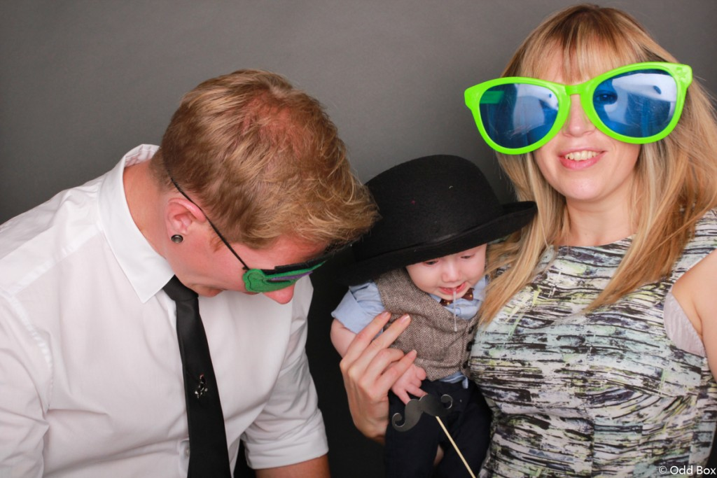 Baby is sick in the photo booth at Wedding Scotland