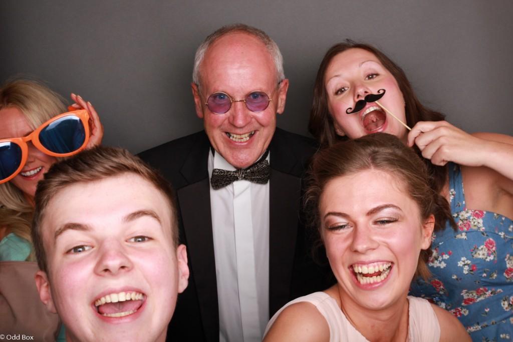 Headteacher in photo booth Hilton Glasgow