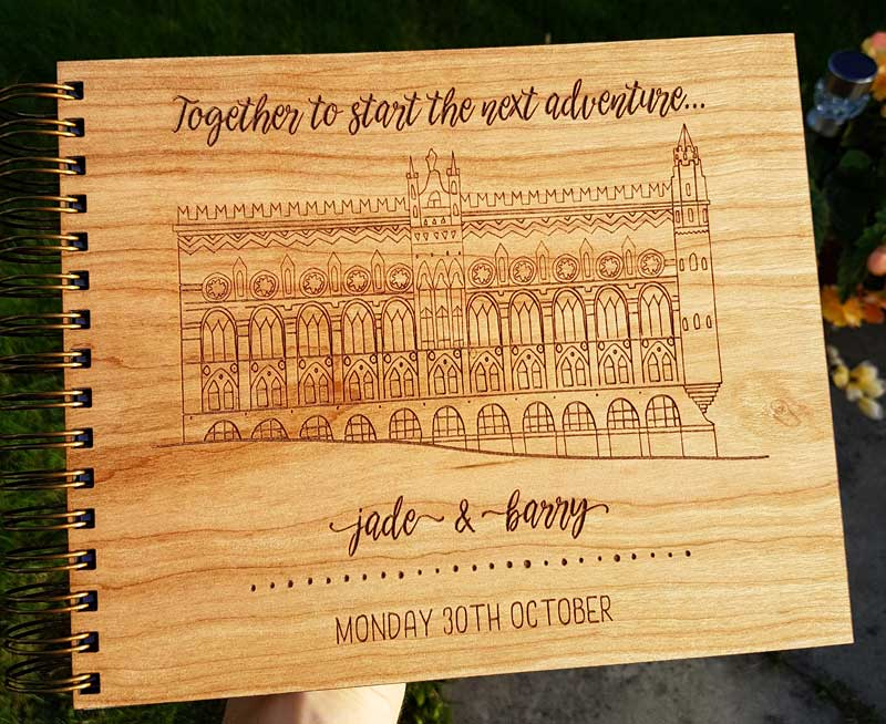 Eden Leisure Village Custom Wooden Guest Book Odd Box Glasgow Wedding