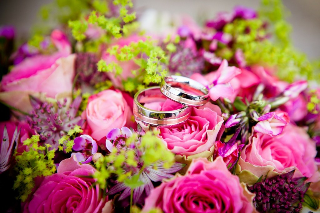 Wedding Rings on wedding flowers
