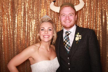 wedding photo booth hire in Scotland, happy bride and groom in photo booth, best wedding photo booth