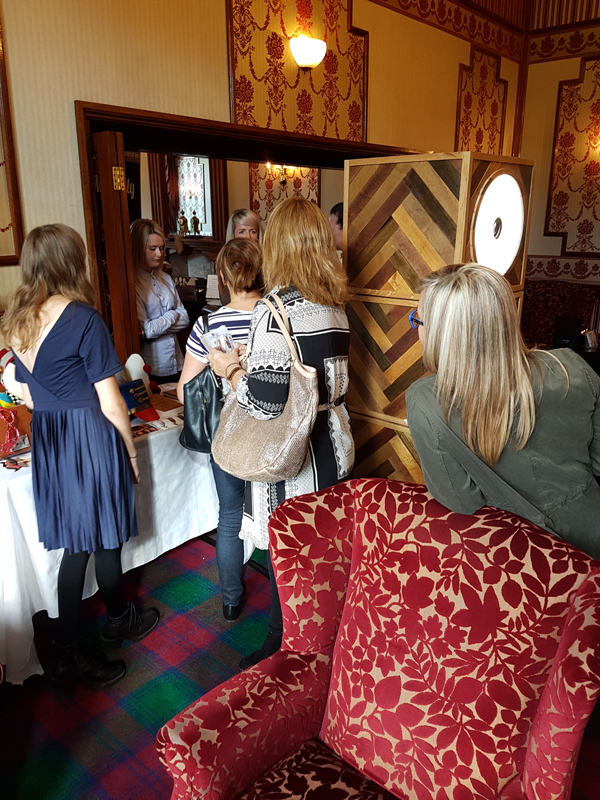 Odd Box Chevron photo booth in Drawing Room Glenbervie House Hotel Stirling Wedding
