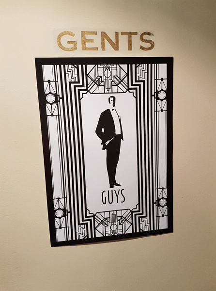 Gatsby themed wedding Oran Mor Glasgow Scotland toilet sign Odd Box photo booth