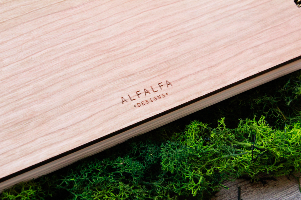 Blank Wooden Guest Book Alfalfa Designs Engraving