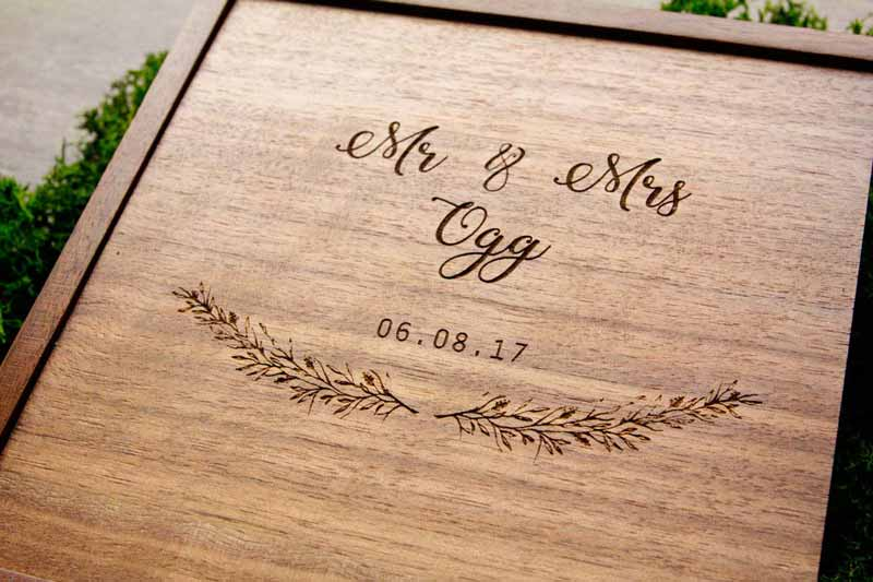 Close Up Custom Engraved Wooden Memory Box with prints and USB Drive