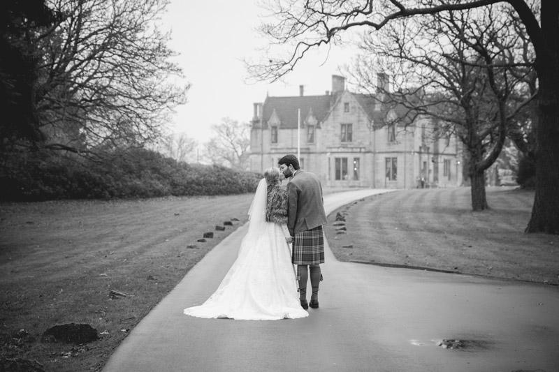 Blair & Shona Bride & Groom outside Glenbervie House Hotel