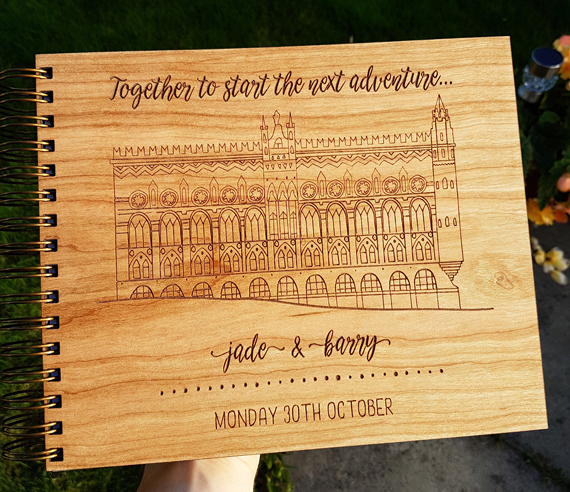 Custom 1920's Wooden Wedding Guest Book Odd Box