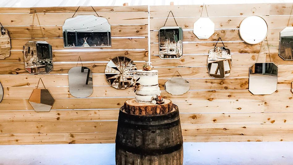 The Cow Shed Vintage Mirrors Wedding Cake Whisky Barrel