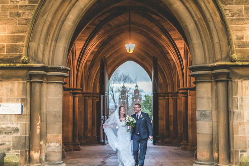 Philippa & Kristian's Wedding outside Glasgow University Memorial Chapel