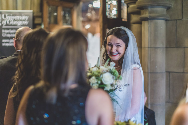 Bride ready to walk down the aisle at Glasgow University Memorial Chapel