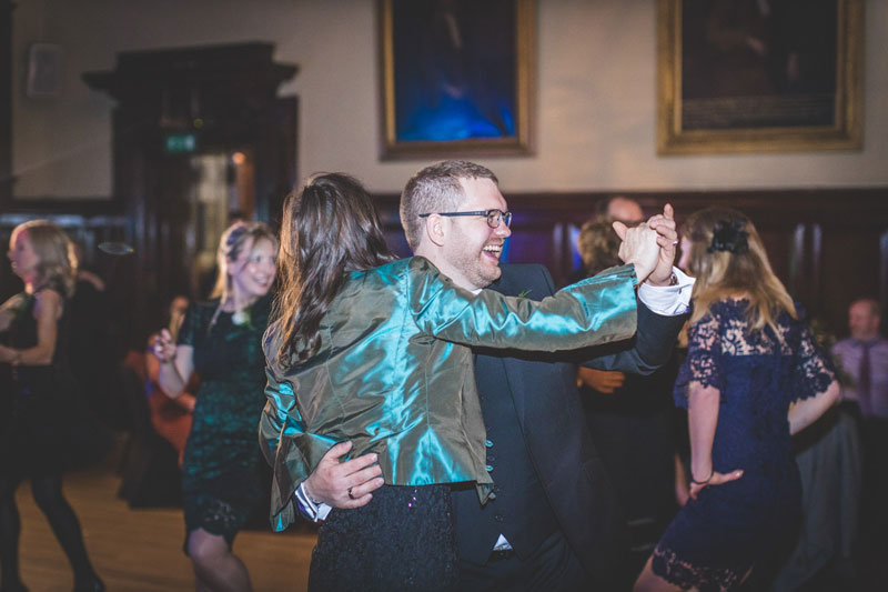 Dancing guests at Trades Hall of Glasgow wedding
