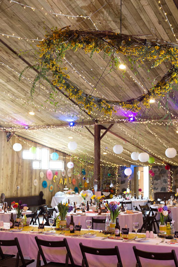Spring wedding barn set up Comrie Croft