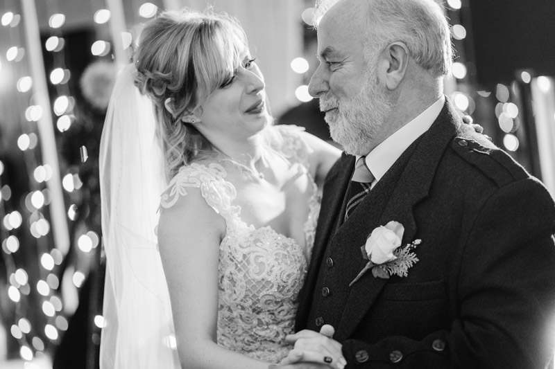 Bride and Father of the bride first dance Carlowrie Castle