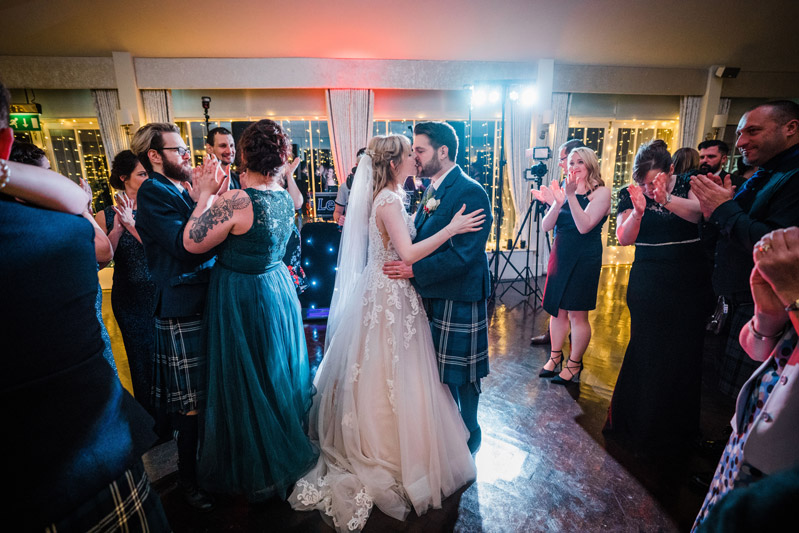 Bride and Groom first dance and kiss Carlowrie Castle Edinburgh