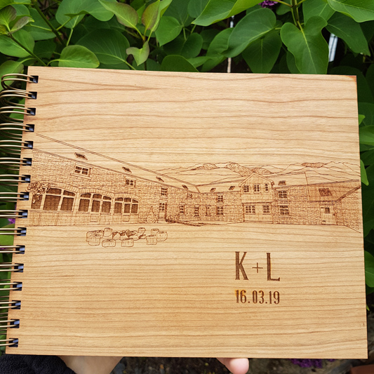 Comrie Croft Courtyard Custom Wooden Guest Book by Alfalfa Designs
