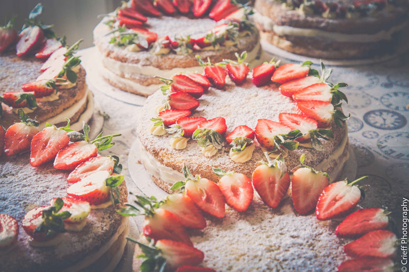 Wedding cakes with strawberries Comrie Croft