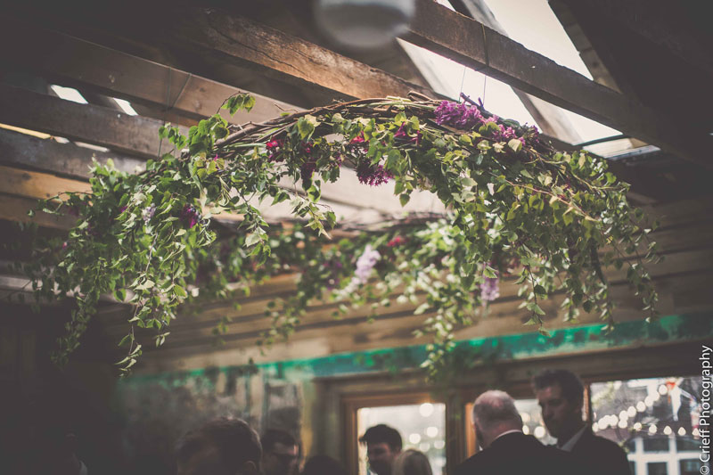 Hanging evergreen floral arrangement at Comrie Croft
