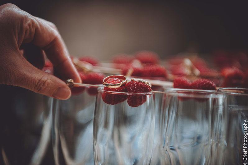 wedding rings on raspberries at Comrie Croft