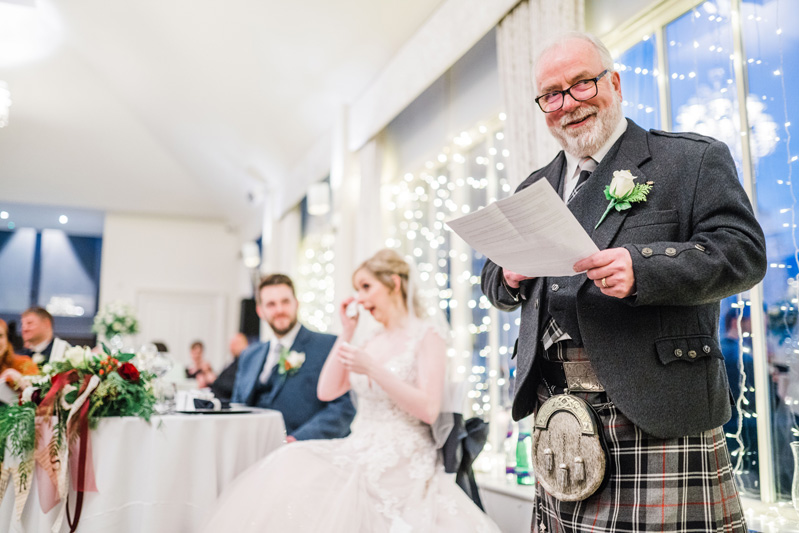 Father of bride delivers speech with bride in tears Carlowrie Castle wedding