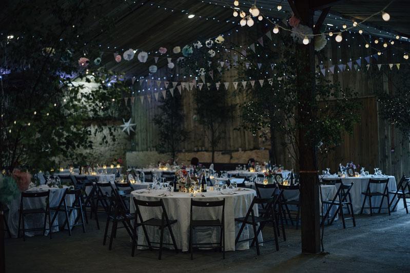 Winter wonderland wedding floral set up Comrie Croft Barn