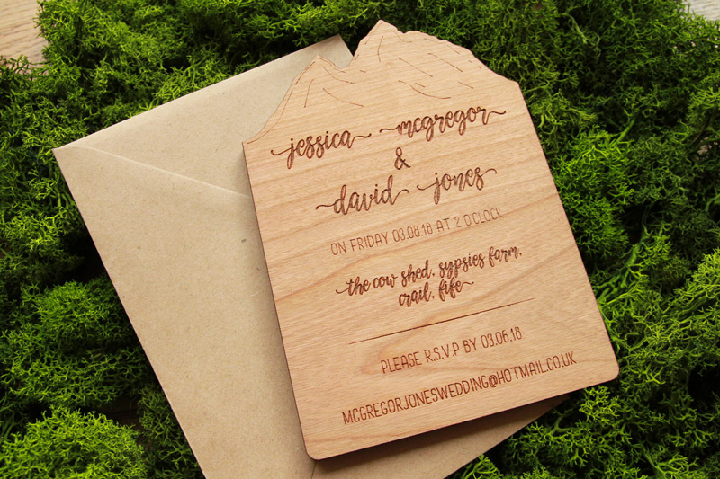 Mountain Wedding Invitations Made From Wood Alfalfa Designs