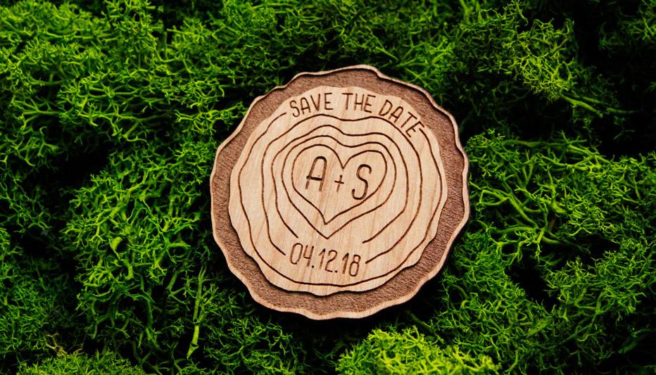 Wood Slice Log Wedding Save The Date Alfalfa Designs