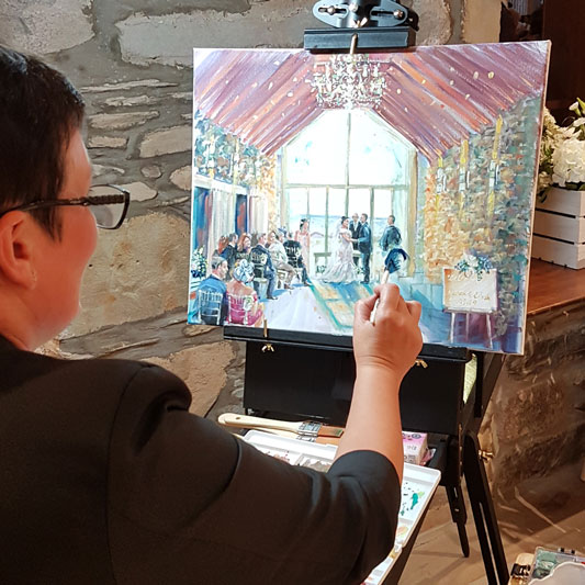 Live Event Painting of wedding ceremony at GG's Yard