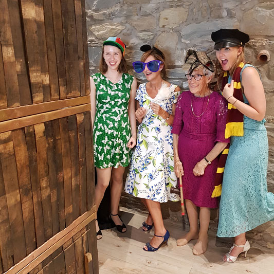 Wedding Guests Use Photo Booth at GG's Yard